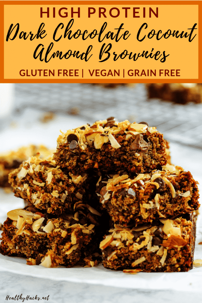These easy, homemade High Protein Dark Chocolate Coconut Almond Brownies are the perfect healthy dessert recipe for any chewy brownie lover. They're dense, fudgey, and moist, and have little bits of nuts and seeds sprinkled throughout for a nice added crunch. The chocolate flavor is complimented with the added flavors of almond butter and coconut. They're also vegan, gluten free, and packed with healthy fats. #HealthyHacks