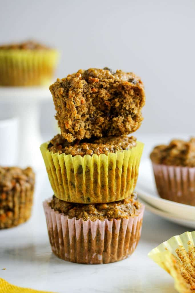 These muffins might just have the best texture of any muffin out there! And they just so happen to be the delicious flavor combo of banana and carrot cake! You can also customize them by adding in whichever mix-ins you like, but I'm pretty partial to walnuts and raisins. They're also  vegan, gluten free, made in 1 bowl, and only take a few pretty common ingredients. Win's all around! #HealthyHacks