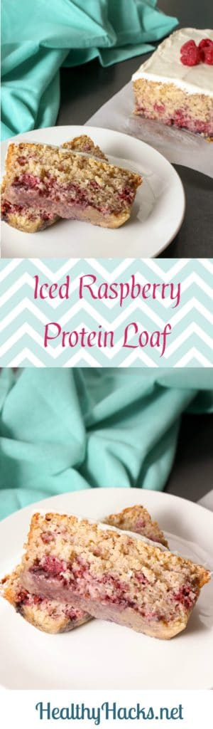Iced Raspberry Loaf that is high in protein and low in sugar. (Gluten Free, Vegan)